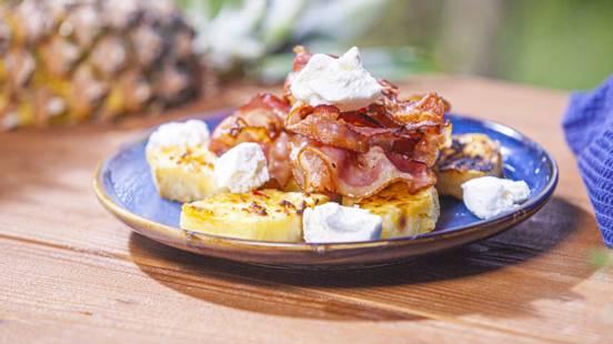 ▶▶ Kepti ananaso griežinėliai su šonine, feta ir parmezanu