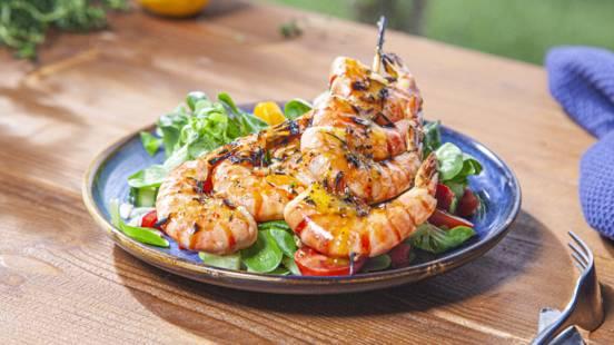 ▶▶  Krevečių salotos su garstyčių, citrinos ir medaus padažu