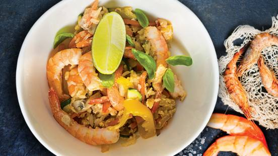 Krevetės su ryžiais ir daržovėmis