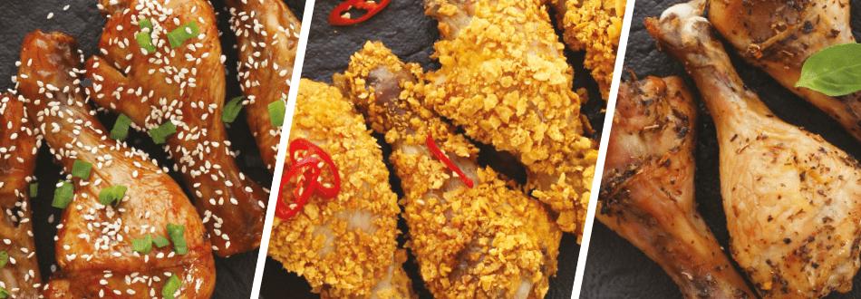 Trijų rūšių viščiukų blauzdelės