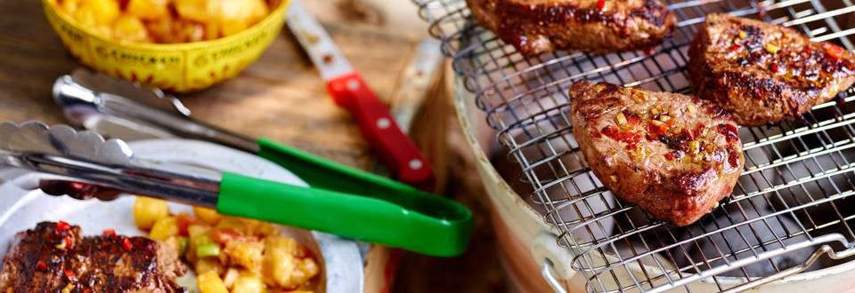 Marinuoti kepsniai su vaisiniu čatniu
