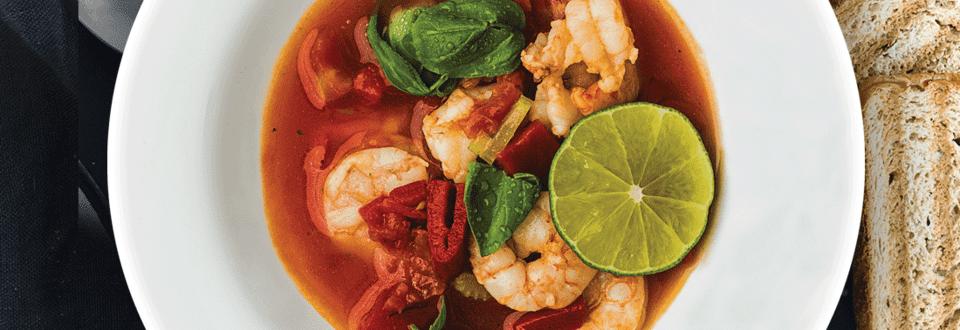 Pomidorų sriuba su krevetėmis